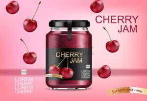 Cherry jam Vector realistic mock up. Product placement label design jar. 3d illustration - starpik