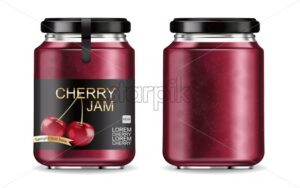 Cherry jam isolated Vector realistic mock up. Product placement label design jar. 3d illustration - starpik