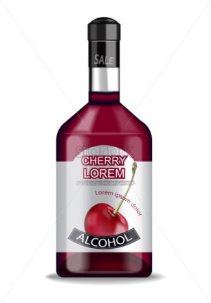 Cherry liquor bottle isolated Vector realistic Product placement label design. 3d illustration - starpik