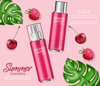 Cherry perfume Vector realistic. Red bottles spray. product placement mock up. 3d illustration - starpik