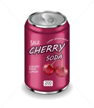 Cherry soda Vector realistic isolated on white 3d illustration - starpik