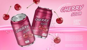 Cherry soda Vector realistic mock up. Product placement aluminium bottles. 3d illustration - starpik