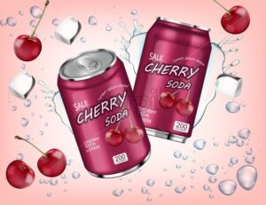 Cherry soda Vector realistic with ice cubes splash. Product placement aluminium bottles. 3d illustration - starpik
