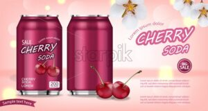 Cherry soda aluminium bottles Vector realistic mock up. Product placement aluminium bottles. 3d illustration - starpik