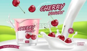 Cherry yogurt Vector realistic. Product placement mock up. Label design. Milk splash. Detailed 3d illustration - starpik
