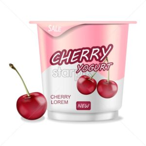 Cherry yogurt isolated Vector realistic. Detailed 3d plastic container illustration - starpik