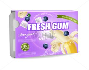 Chewing gum Vector realistic. Product placement detailed label design. Banana and berries flavor. 3d illustration - starpik