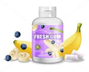 Chewing gum Vector realistic. Product placement detailed label design. Packaging bottles. Banana and berries flavor. 3d illustration - starpik