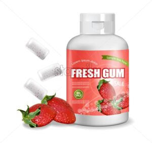Chewing gum Vector realistic. Product placement detailed label design. Packaging bottles. Strawberry Fruit flavor. 3d illustration - starpik