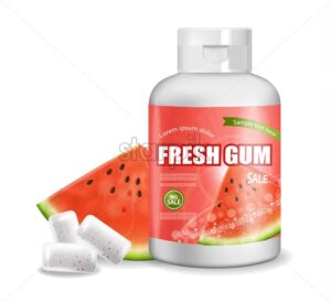 Chewing gum Vector realistic. Product placement detailed label design. Packaging bottles. Watermelon flavor. 3d illustration - starpik