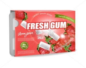 Chewing gum Vector realistic. Product placement detailed label design. Strawberry Fruit flavor. 3d illustration - starpik