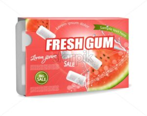 Chewing gum Vector realistic. Product placement detailed label design. Watermelon flavor. 3d illustration - starpik