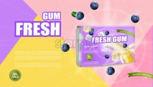 Chewing gum mock up Vector realistic. Product placement detailed label design. Banana and berries flavor. 3d illustration - starpik