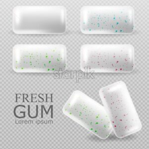 Chewing gum set Vector realistic. Tablets on transparent background. Strawberry Fruit and mint flavor. 3d illustration - starpik