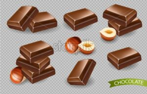 Chocolate Vector realistic isolated on transparent background. Template detailed candies for design label, print, project - starpik