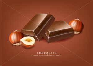 Chocolate Vector realistic. Candies and nuts close up. detailed design label, backgrounds, print, project - starpik