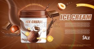 Chocolate ice cream bucket Vector realistic mock up. Product placement. Label design advertise template. Chocolate splash. Detailed 3d illustration - starpik