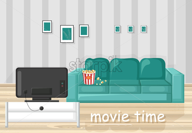 Couch and TV Vector flat style. Movie time in the livingroom - starpik