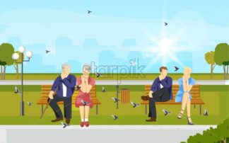 Couples sitting in the park Vector flat style. Old and young couple enjoying summer - starpik