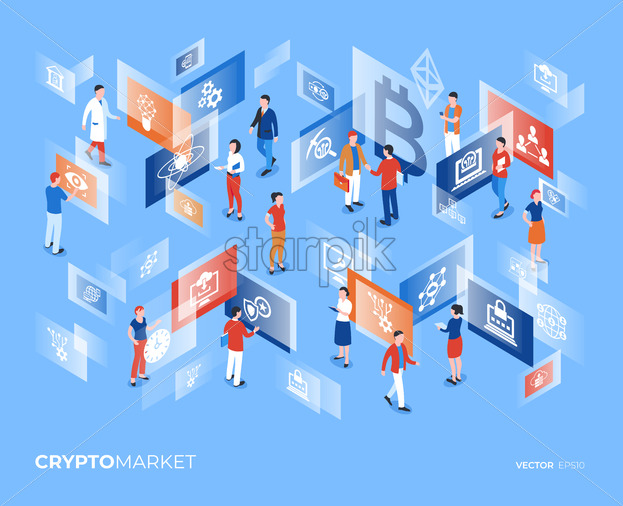 Cryptocurrency bitcoin technology icons infographics with business people, digital vector advert - starpik