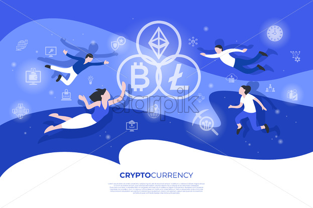 Cryptocurrency bitcoin technology icons infographics with people, digital vector advert - starpik