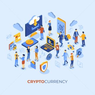 Cryptocurrency bitcoin technology isometric 3d icons infographics with business people, digital vector advert - starpik