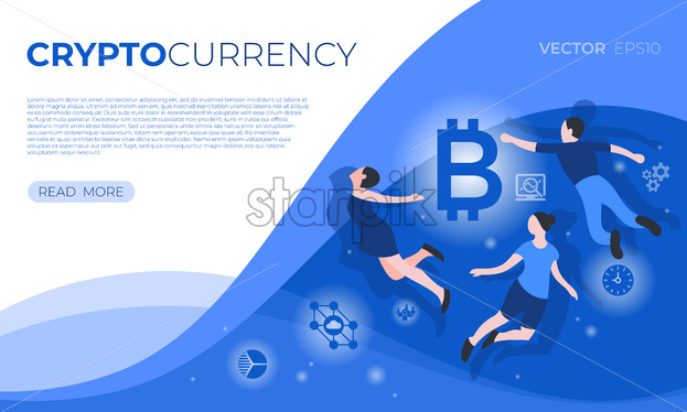 Cryptocurrency blockchain bitcoin technology icons infographics with flying people, digital vector advert - starpik