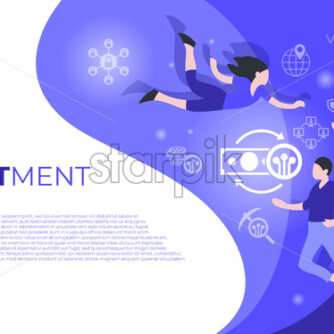 Cryptocurrency investment bitcoin technology icons infographics with people, digital vector advert - starpik