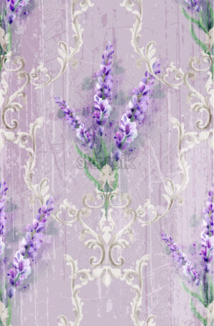 Damask ornament and lavender Vector pattern. Delicate floral decor watercolor. Spring summer texture banner template - starpik