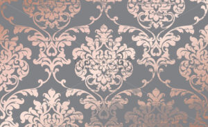 Damask pink gold ornament pattern Vector. Baroque luxury texture. Glossy structure. Victorian elegant decor - starpik