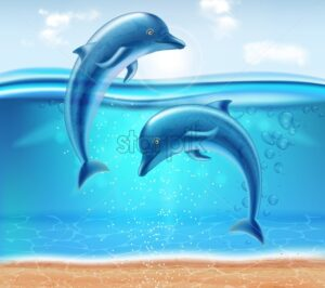Dolphins jumping Vector realistic. Beautiful couple dolphine sea background - starpik
