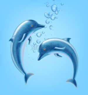 Dolphins underwater Vector realistic. Beautiful couple dolphine sea background - starpik