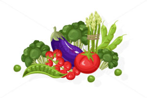 Eggplant, tomatoes, greens set. Store shop label isolated poster advertise - starpik