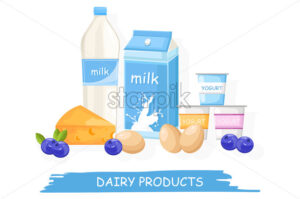 Farm fresh dairy Vector shopping stands. Milk, yogurt, cheese and eggs illustration - starpik