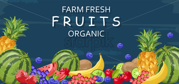 Farm fresh fruits Vector banner. Watermelon, banana, pineapple and berry - starpik