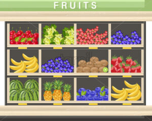 Farm fresh fruits Vector shopping stands. Watermelon, banana, pineapple and berry - starpik