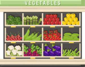 Farm fresh vegetables Vector shopping stands. Store shop stands grocery detailed illustration - starpik