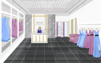 Fashion boutique with dresses Vector illustration. Shop store front view - starpik