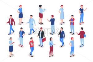 Flat business people icons infographics, digital vector advert - starpik
