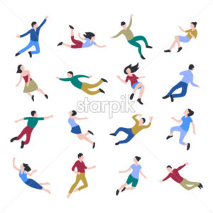 Flat business people jumping and flying icons infographics, digital vector advert - starpik
