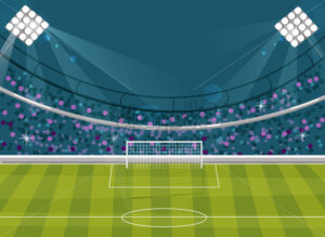 Football field Vector flat style. Soccer template brochure avatar. Supporters on background - starpik