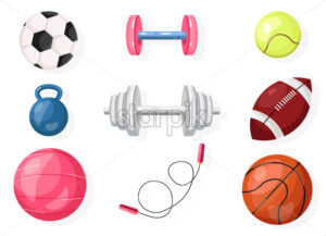 Football, rugby, basket ball Vector set collection isolated on white - starpik