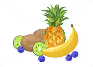 Fresh banana and pineapple fruits Vector banner isolated on whites - starpik