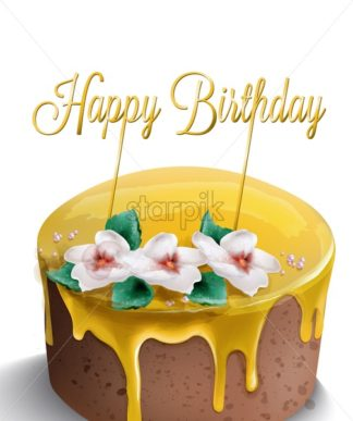 Happy birthday cake Vector watercolor. Yellow top. Golden text and flowers decor - starpik