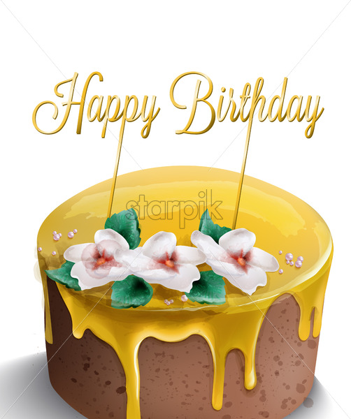 Strange Happy Birthday Cake Vector Watercolor Yellow Top Golden Text And Funny Birthday Cards Online Alyptdamsfinfo