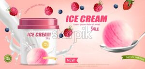 Ice cream bucket Vector realistic mock up. Product placement. Label design advertise template. Berry fruits flavor Detailed 3d illustration - starpik
