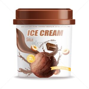 Ice cream bucket isolated Vector realistic. Chocolate flavor Detailed 3d illustration - starpik