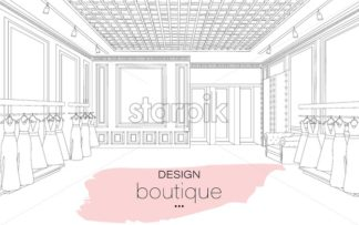 Interior design boutique line art background Vector illustration. Detailed elegant decoration - starpik