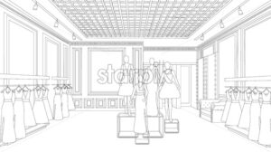 Interior design fashion boutique line art background Vector illustration. Detailed elegant decoration - starpik