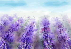 Lavender field Vector watercolor. Provence vintage background. Beautiful flowers painted style - starpik